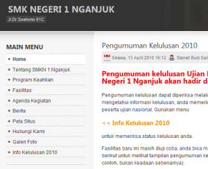 Info Kelulusan 2010 SMKN 1 Nganjuk